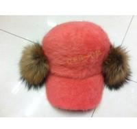 Free Shipping Han edition bulb cap rabbit hair fashion baseball caps for women to keep warm in winter