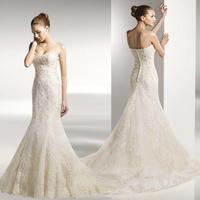 2015 tube top wedding dress train lace wedding dress fish tail wedding dress formal dress vintage lace hot-selling