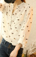 Free Shipping Summer women's 2013 new arrival chiffon long-sleeve shirt slim pocket female shirt