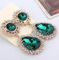 Free Shipping Fashion Luxurious 18K Gold Plated Rhinestone Acrylic Water-Drop Shape Stud Earrings