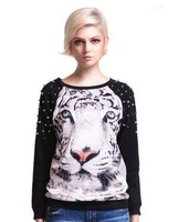 2013 Fashion rivet punklong-sleeved tiger print shirt loose sweater neck long-sleeved tiger print shirt loose sweater