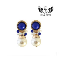Free Shipping 2013 Vintage White Blue Ocean/ White Pearl drop earrings ES-047