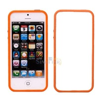 S1M# Orange Bumper Frame Plastic Silicone Case with Volume Button for iPhone 5G