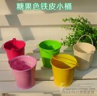 Small flower small tub toy bucket metal bucket all-match mini candy color small bucket metal bucket flower pot