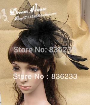 Stylish Glamorous Socialite party black feather Tulle Hat headwear Feathers Fascinator Wedding Bridal Hats