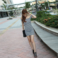 Fashion slim hip sexy slit neckline strapless sexy women one-piece dress 2013