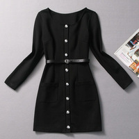 Fashion autumn and winter 2013 women's before the open button elegant pocket slim overcoat outerwear one-piece dress