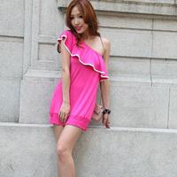 Gentlewomen ruffle sexy one-piece dress one oblique shoulder strapless dress women's