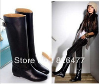 2013 winter boots for women British style Harajuku high-leg fashion womens shoes woman buckle flat heel women motorcycle boots