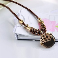 Free Shipping! Hot Sale Crystal Pendants Vintage Weave Long Cord Necklace for Women Dress Jewelry