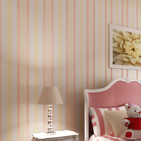 Non-woven wallpaper fashion brief multicolour vertical stripe living room wallpaper tv background wall wallpaper
