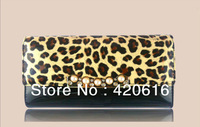 2013 New Fashion PU Leopard Patent Leather Lady Womens Pearls Long Wallet Clutch Purse 6 Colors Free Shipping