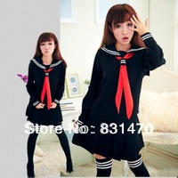 Nice girls school uniform set fashion sailor uniforms for students black/white colors free shipping