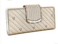 2013 Fashion women purse PU Pearl  long design two fold wallet women leather bag Free shipping
