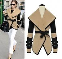 Free Shipping 2013 Autumn New Large Lapel Woolen Waistcoat Jacket Coat Turn Down Collar Victoria Beckham Winter Women M-XXXL