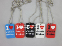 "I Love Justin Bieber Dog Tag Necklace, JB dog tag with 24"" ball chain, filled in colour, 4colours,blue, 50pcs/lot, free shipping"