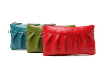 100% GENUINE LEATHER woman's pleat clutch bag evening bag wristlet coin bag pouches , free shipping