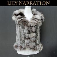 2013 Women's Genuine Knitted Rabbit Fur Waistcoat Fox Fur Trimming Female Slim Short Vest VK1236