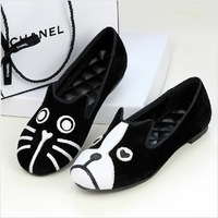 FREE SHIPPING 2014 shoes mj personality the cat dog velvet flat shoes comfortable flats low single shoe for women drop shipping