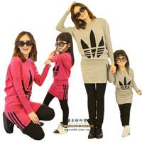 Shampooers 2014 batwing sleeve T-shirt long-sleeve sweater parent-child dress set