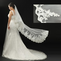 2013 new arrival bridal veil car luxury wide laciness lace veil  ultra long 3 meters