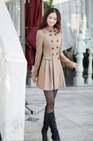 Free shipping New Women England epaulettes standing collar skirt style jacket is double-breasted wool coat