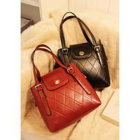Free Shipping Fashion ol 2013 bag dimond plaid vintage bucket bag messenger bag handbag women's
