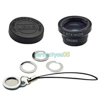 0.67X Wide Angle + Macro Lens Black for iPhone 5 4G 4S 4 i9300 Mobile Phone PY5#