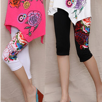 Female 2013 three-dimensional embroidered fish 100% legging cotton capris clothing