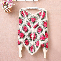 Women's hot-selling 2013 sweet all-match rose cutout crochet sweater outerwear