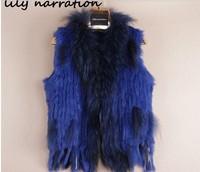 20 Colors  Women's Genuine Knitted Rabbit Fur Vest Waistcoat Raccoon Fur Trimming Female Gilet Women Fur Outerwear Coats VK1237