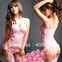 Сексуальная ночная сорочка Sexy lingerie red shoulder dress+g string+legtie set sleepwaer underwear Costume Underwear Clubwear Uniform