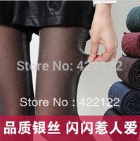 Winter full fat women sexy tights/leggings/panty/knitting/pantyhose in long stockings trousers-Gold silver blue silkTT011-1pcs