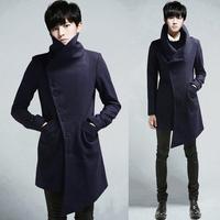 Winter front fly stand collar woolen slim overcoat woolen outerwear wool coat male