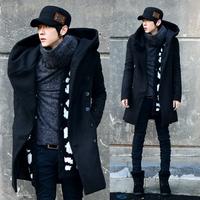 Winter hats male slim woolen trench male fashion trench woolen outerwear men's clothing