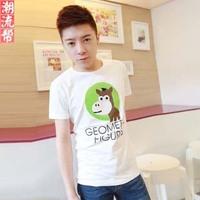 Summer cartoon printing flock print slim cotton short-sleeve 100% T-shirt male short-sleeve T-shirt short t