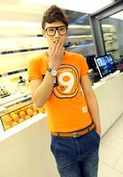 Summer orange letter print 100% cotton slim o-neck short-sleeve summer T-shirt fashion short-sleeve t