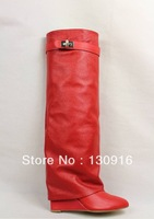 Free shipping wholesale red bottom red leather women over knee boots sexy zipper 12cm heel boots discount price ON SALE!