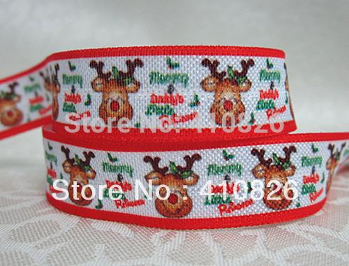 WM ribbon wholesale/OEM 5/8inch 928013 Christmas Party folded over elastic Little Bear Webbing FOE 50yds/roll free shipping(China (Mainland))