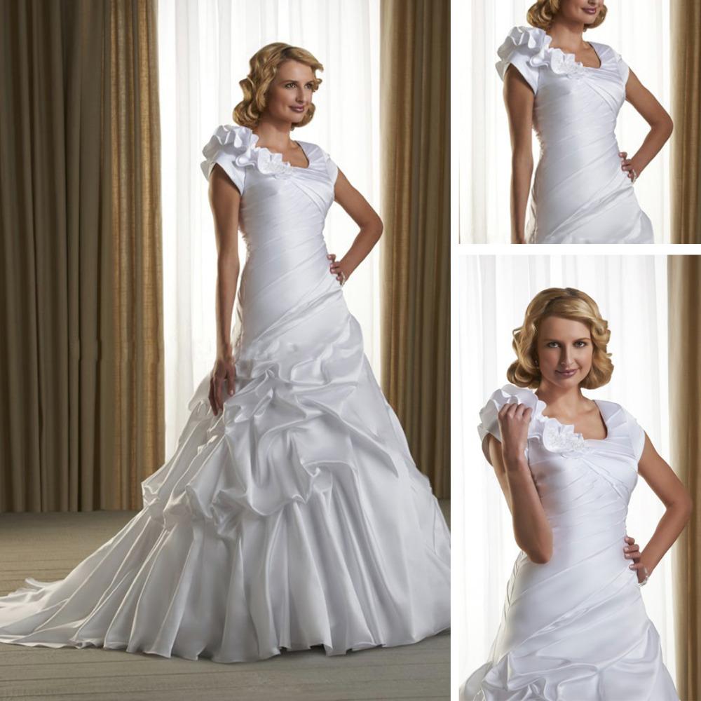 Alibaba Taffeta Sleeves Queen Anne Neckline Wedding Dress 2013 WC92(China (Mainland))