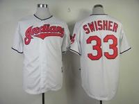 2013 New Cleveland Indians #33 Nick Swisher White Baseball Jerseys Embroidery logos Free Shipping Size 48-56