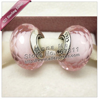 925 silver beads Pink Fascinating Faceted Glass Charm Beads Fits dora Charm Bracelets necklaces & pendants /ZS094