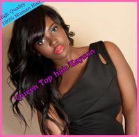 "Free Shipping! Cheap Wholesaler Price 18"" #1B 100% Human Hair Wavy Brazilian Human Hair Lace Front Wigs"