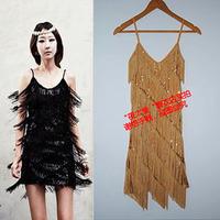 Tassel paillette V-neck suspender skirt one-piece dress Latin dance costume 7