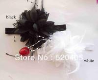 New baby headband fabric flowers with pearls wedding flowers headband feather headwear wholesale 12PCS