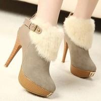 Lourie sweet fashion fur boots platform boots thin heels sexy ultra high heels snow boots