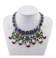 New Arrival Colorful Gem Flower Rhinestone  Necklaces Choker Statement Necklace For Women N077 Free Shipping