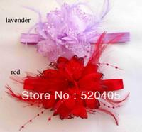 Feather elastic headband fabric flowers with pearls wedding flowers headband baby headwear wholesale 30PCS