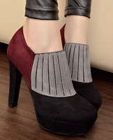 Vintage elegant color block decoration high-heeled boots thick heel platform boots round toe ankle boots martin boots
