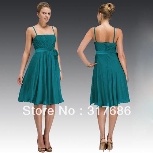 Free shipping!Latest spaghetti strap knee length silk chiffon teal bridesmaid dresses brides maid dresses ZBD-214(China (Mainland))